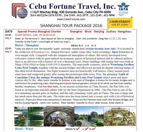 CHINESE NEW YEAR PROMO! Shanghai Tour Package @ US$ 550/Person with Roundtrip Airfare